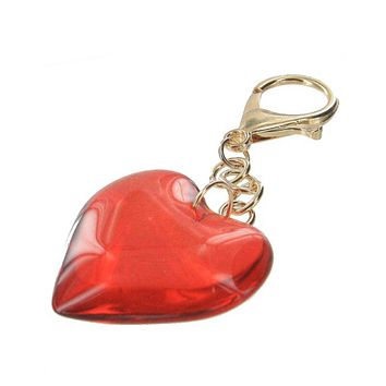 Adorable Red Glass Heart Keychain