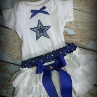 Girls Dallas Cowboys Cheerleader Outfit, Baby Girls Coming Home Outfit, Girls Football Gameday Bloomer Outfit