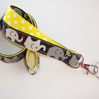 Lanyard  ID Badge Holder - Lobster clasp and key ring - design your own - gray elephants on black with polka dots - two toned double sided