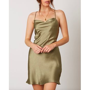 Final Sale - Cotton Candy LA - Cowl Neck Satin Mini Dress with Strappy Low Cut Back in Sage