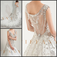 Cathedral Tail Luxuries 2016 On sale See Though Ball Bridal Gown Cap sleeve Crystal Wedding Dresses Formal Women Wedding Gowns