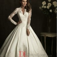 Lace V–Neck Ball Gown Sheer Laced Sleeves Wedding Dress with Chapel Train AB8874