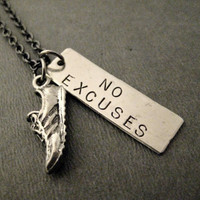 RUN with NO EXCUSES Rectangluar Pendant Necklace - Runner No Excuses Necklace with Pewter Running Shoe Charm on Gunmetal Chain - Yes I Can