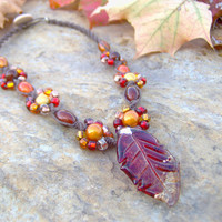 Hemp Necklace w/ Glass Leaf Pendant  Autumn  by KnottyandNiceHemp