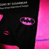 BATMAN BaBY BLANKeT for GiRLS EMBRoiDERED ReaDY to SHip! So SoFT SnuGGLY Baby Nursery SHoWER GiFT for your Little SUPeR HeRO ADORaBLE