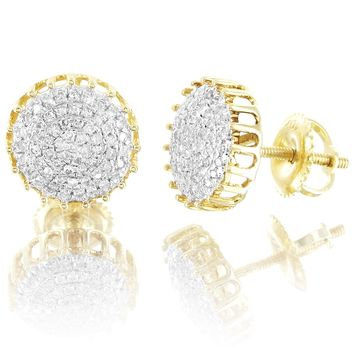 Unisex 10k Gold Round Cluster 0.26Ct Real Diamonds Stud Earrings