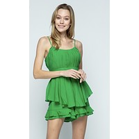 Apparel- Lilly Double Layer Romper Green