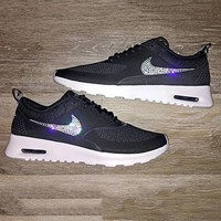 Nike Air Max Thea Diamond Hook Shining Sequin Hook Women Men Running Sneakers B-CSXY Black/silver hook
