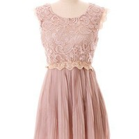 Carnation Lace Pleated Dress - New Arrivals - Retro, Indie and Unique Fashion