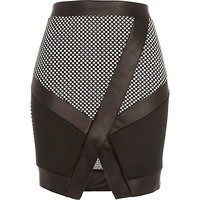 River Island Womens Black and white color block wrap skirt