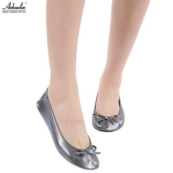 After Party Dark Grey Charcoal Shoes Fashion Women Shoes Flats Portable Fold Up Bridal Prom Ballerinas Flat Shoes Roll Up Foldable Ballets