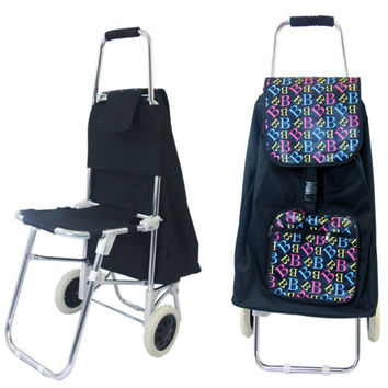 Shopping Trolley Cart Folding Seat Black Compact Lightweight Eco Friendly, Gift