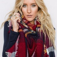 Countryside Plaid Blanket Scarf - Red