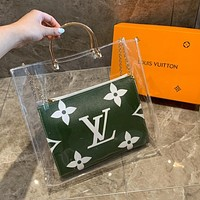 LV Louis Vuitton High Quality Fashion Transparent Handbag Shoulder Bag Crystal Bag Crossbody Satchel Green&White