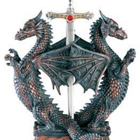 Double Dragons Holding Sword Letter Opener Medieval Fantasy 9H