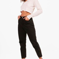 Sophie High Waist Knee Rip Mom Jeans | Boohoo