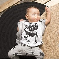 2016 summer baby boys clothes infant clothes baby clothing sets girl Cotton cartoon short sleeve 2pcs suit newborn clothes