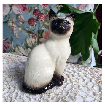 Royal Doulton Siamese Cat Figurine Vintage Porcelain Made in England