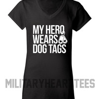 My Hero Wears Dog Tags t-shirt, Army, Air Force, Marines, Navy, Military Wife, Fiance, Girlfriend, Workout