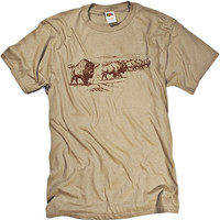 American Bison Buffalo Tonal Nature Graphic Print T-shirt