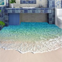 beibehang Floor painting blue sea reef scenery Waterproof Bathroom kitchen Wall paper pvc self adhesive wallpaper wall sticker