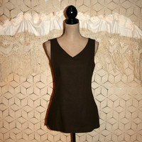 Brown Linen Top Sleeveless Top Tunic Top V Neck Summer Top Fall Top Fitted Sophisticated Liz Claiborne Size 6 Small Womens Clothing