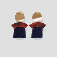 EARRINGS WITH FRINGE AND METAL DETAILS