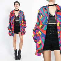 80s 90s Abstract Print Windbreaker