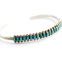 Vintage Sterling Silver Turquoise Cuff Bracelet -  Native American Needlepoint South Western Jewelry / Teal Blues