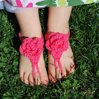 Crochet Pink Flower Baby Sandals, Barefoot Sandals, Baby Girl Shower Gift