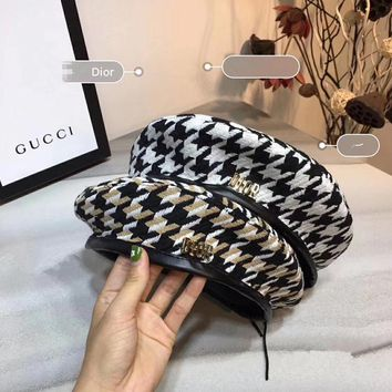 """Dior"" Winter Retro Classic Multicolor Tartan Letter Logo Beret Cap Temperament Women Hat Painter Cap"