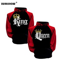 Lovers Couples Hoodies 2018 Fashion Sweatshirt King Queen Letters Crown Women Man Clothes Long Sleeve Hoody Casual Pullovers