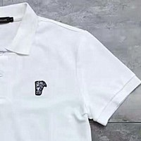 VERSACE Polo Fashion Pure Cotton Embroider Logo Casual Tee Top G-YF-MLBKS