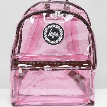 Hype Transparent Pink Backpack at asos.com