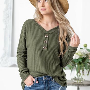 Hunter Green Thermal Button Long Sleeve Top