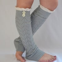leg warmers - machine knit grey leg warmers with cotton lace and buttons boot socks boot cuffs valentines day gifts birthday gifts