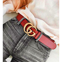 Dior GG Stylish Women Men Personality Smooth Buckle Leather Belt +Gift Box