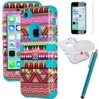 iPhone 5C Case, ULAK 3in1 Anti Slip IPhone 5C Case Hybrid with Soft Flexible Inner Silicone Skin Protective Case Cover for Apple iPhone 5C (Pink Tribal / Blue Silicone)