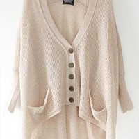 Hollow out loose bat sleeve is irregular cardigan from Fanewant