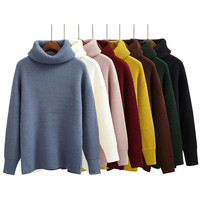 Korean Simple Basic Winter Knitted Sweaters Women Fashion Turtleneck Pullover Sweater Female Casual All-match Jumper 8 Colors