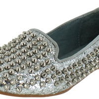 Steve Madden Women's Studlyy Flat Studded Loafers Shoes - 7.5 / Silver