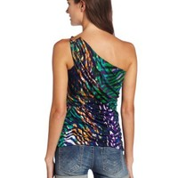 XOXO Juniors Printed One Shoulder Rouched Top
