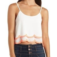 Neon-Embroidered & Scalloped Crop Top by Charlotte Russe - White