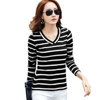 Long sleeve t shirt women t-shirt 2018 striped cotton tee shirt femme poleras camisetas mujer v-neck casual tshirt womens tops