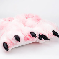 Pink Tiger Paw Slippers | Paw Slippers, Furry Animal Slippers | BunnySlippers.com
