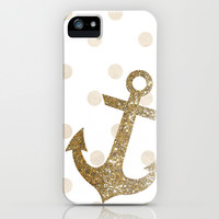 GLITTER ANCHOR IN GOLD WITH DOTS iPhone & iPod Case by colorstudio