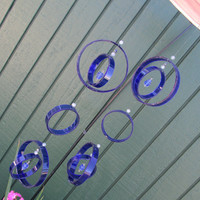 Recycled wine bottle wind chime, Juniper wood, colbalt blue, Beads, circle glass wind chime, Yard Art, patio decor
