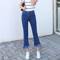 High Waist Jeans For Women Was Thin Fringed Edges Nine Points Horn Jeans