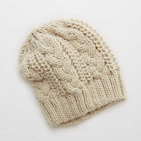 Aerie Cable Sweater Beanie , Heather Gray