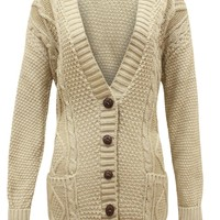 Grand Dad Cardigan Long Sleeve Knitted Button One Size Beige
